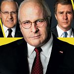 Christian Bale als Dick Cheney, neben ihm Amy Adams & Steve Carell