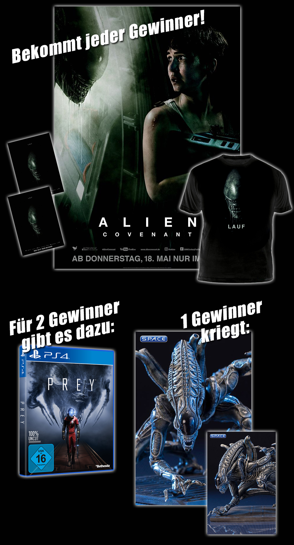 """Bild 1:Gewinn die Alien-Statue zum Filmstart von """"Alien - Covenant""""!"""
