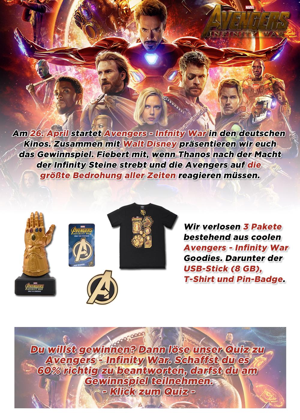 """Bild 1:3 Fanpakete zum Kinostart von """"Avengers - Infinity War"""""""