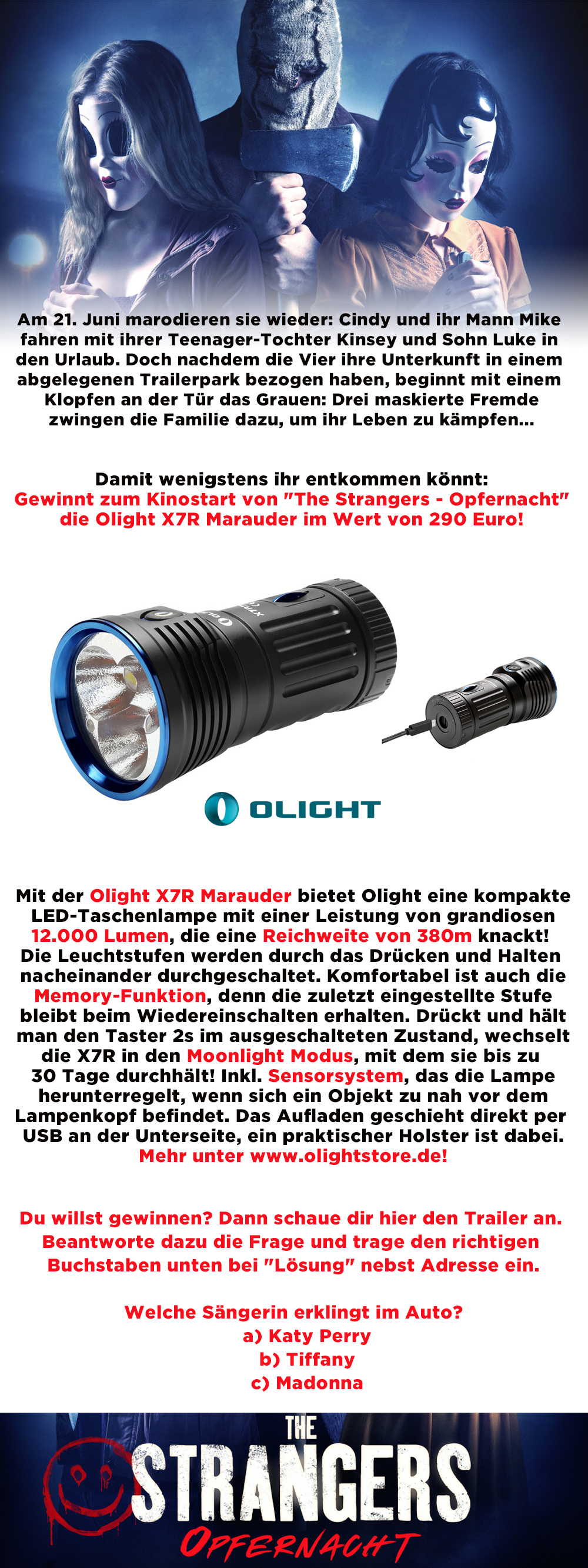 """Bild 1:Erstklassige Taschenlampe mit """"The Strangers - Opfernacht"""" gewinnen!"""