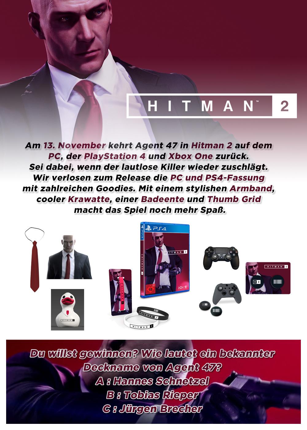 """Bild 1:Gewinne 2 Fanpakete + Spiel zum neuen """"Hitman 2"""""""