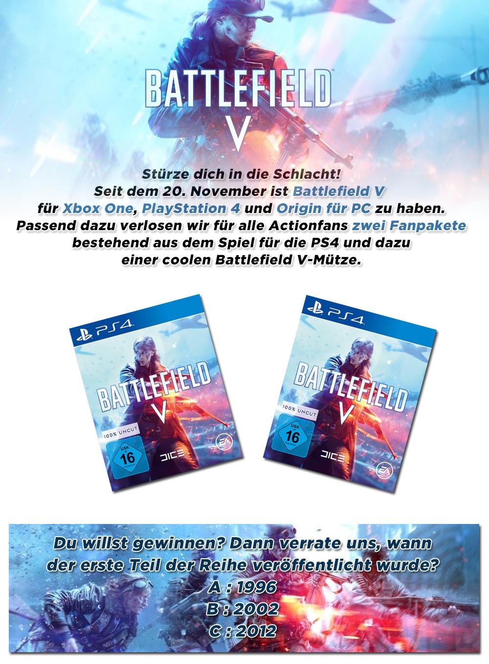 """Bild 1:Gewinne 2 Fanpakete + Spiel zum neuen """"Battlefield V"""""""