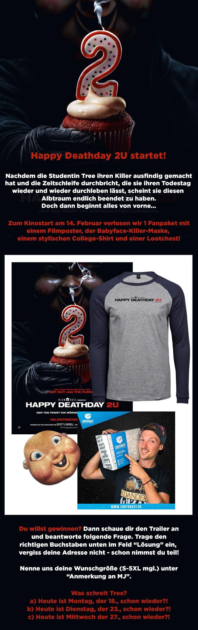 """Bild 1:Keine Angst, mitmachen: Gewinnspiel zu """"Happy Deathday 2U""""!"""