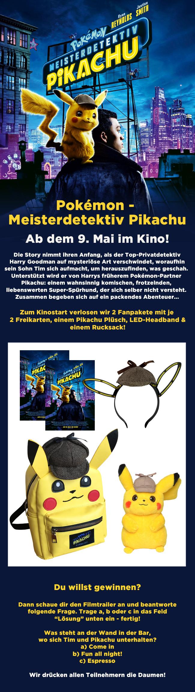 """Bild 1:Schlau wie Meisterdetektiv Pikachu: Löse das """"Pokémon""""-Gewinnspiel!"""