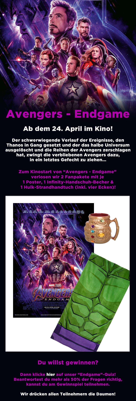 """Bild 1:Thanos würde gewinnen: Hol dir auch die Preise in unserem """"Avengers - Endgame""""-Gewinnspiel!"""