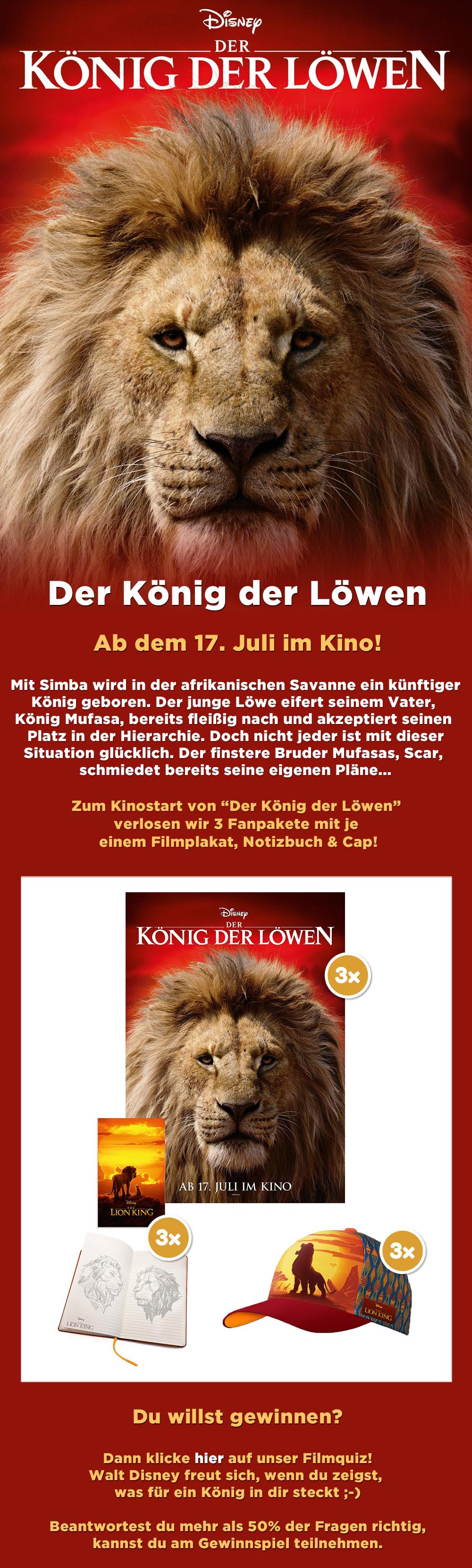 """Bild 1:Sei ein Sieger im """"Der König der Löwen""""-Gewinnspiel!"""