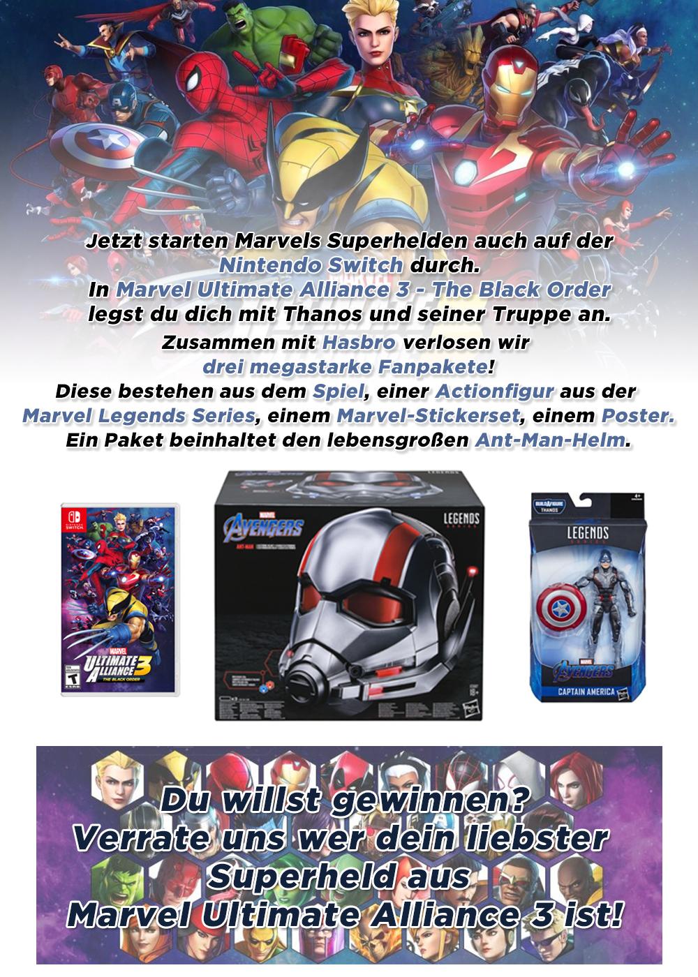 """Bild 1:Gewinne mit Hasbro """"Marvel Ultimate Alliance 3"""", Actionfiguren und den Ant-Man-Helm"""