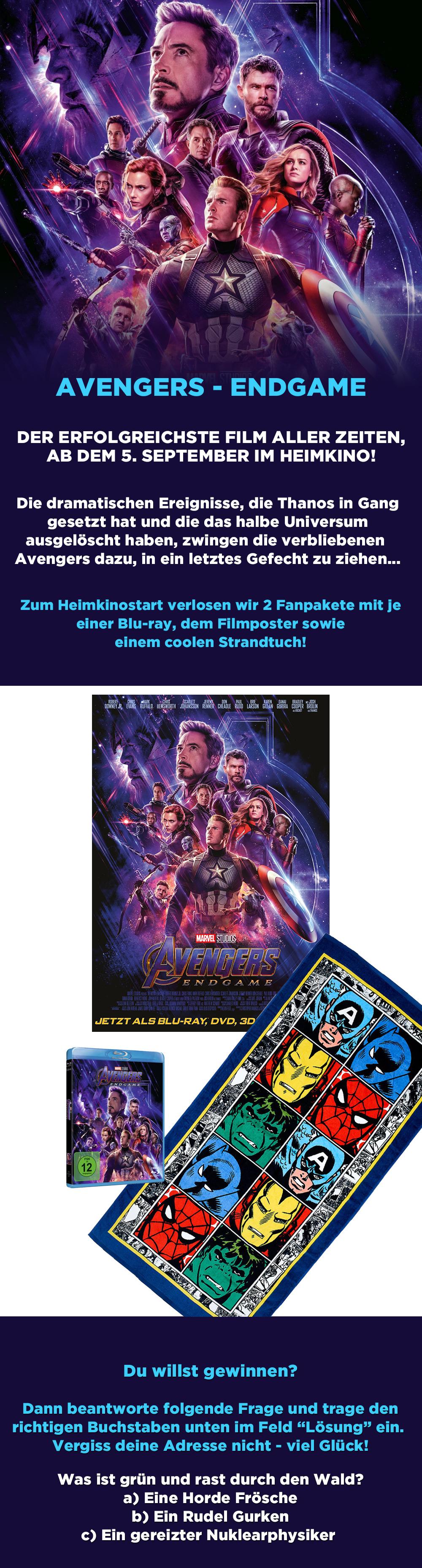 """Bild 1:Das """"Avengers - Endgame""""-Gewinnspiel zum Heimkinostart!"""