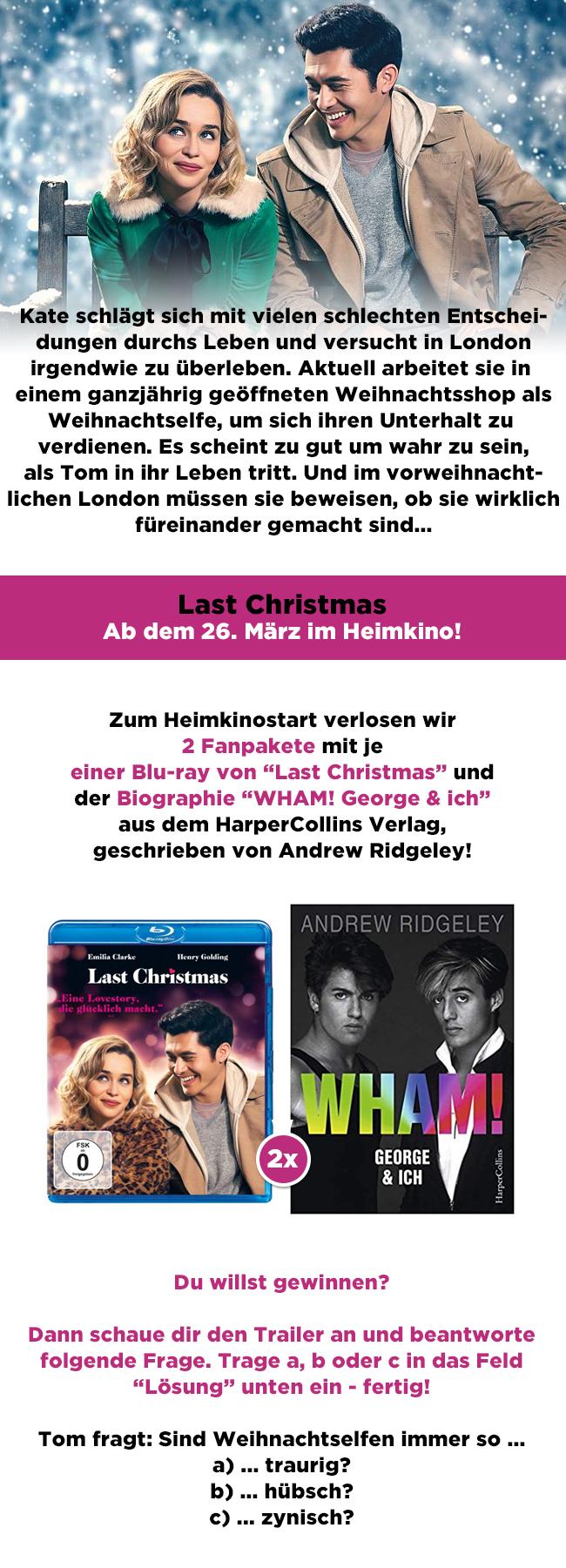 """Bild 1:""""Last Christmas"""" im Frühling: Schnapp dir die Romantikkomödie im Gewinnspiel!"""