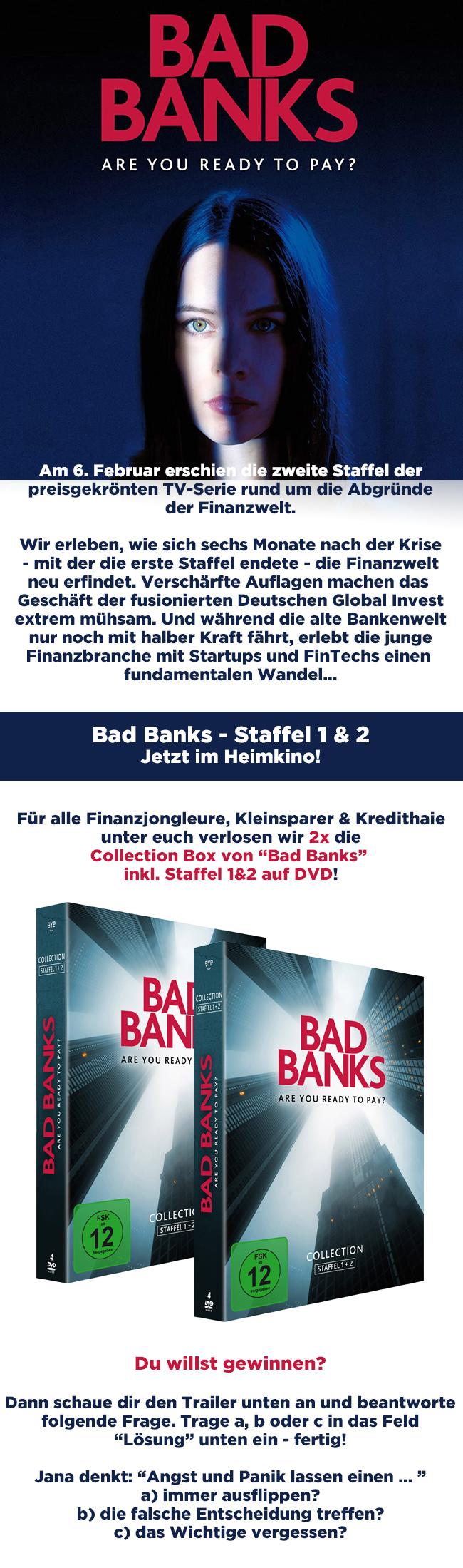 """Bild 1:Sei gerissener als andere in unserem """"Bad Banks""""-Gewinnspiel!"""