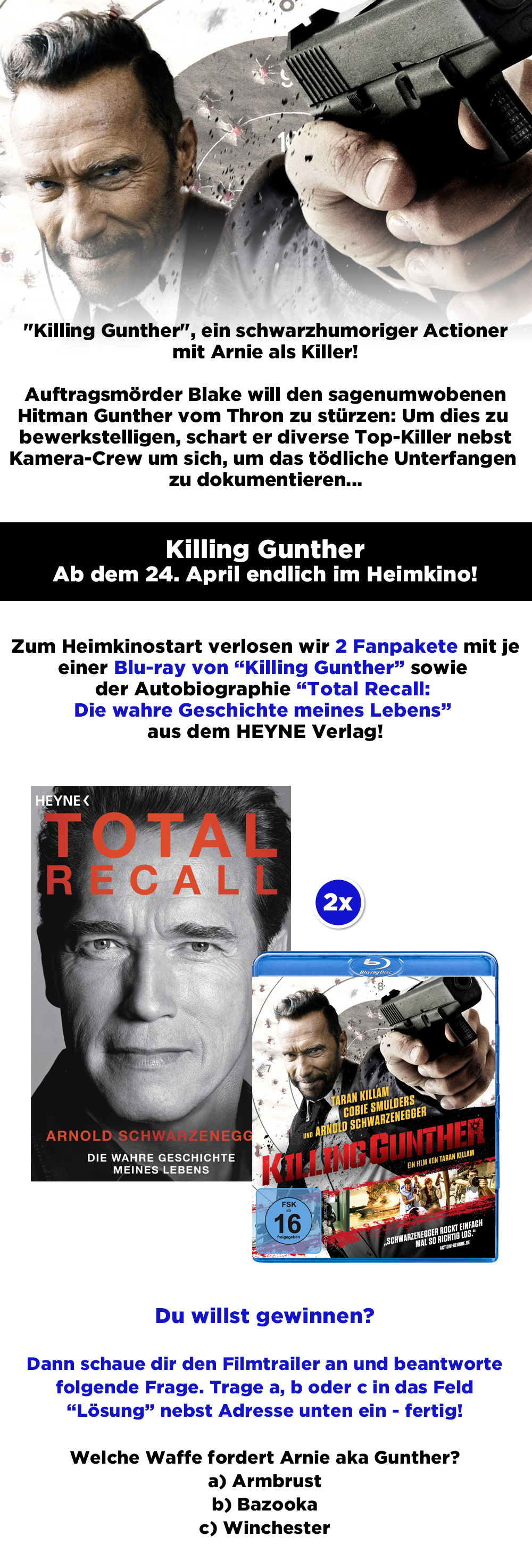 """Bild 1:""""Killing Gunther"""" Gewinnspiel: Hol dir eins der Arnie-Pakete!"""