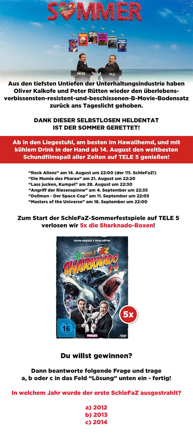 Bild 1:Der SchleFaZ-Sommer 2020 startet: Gewinne eine von 5 Sharknado-Boxen!
