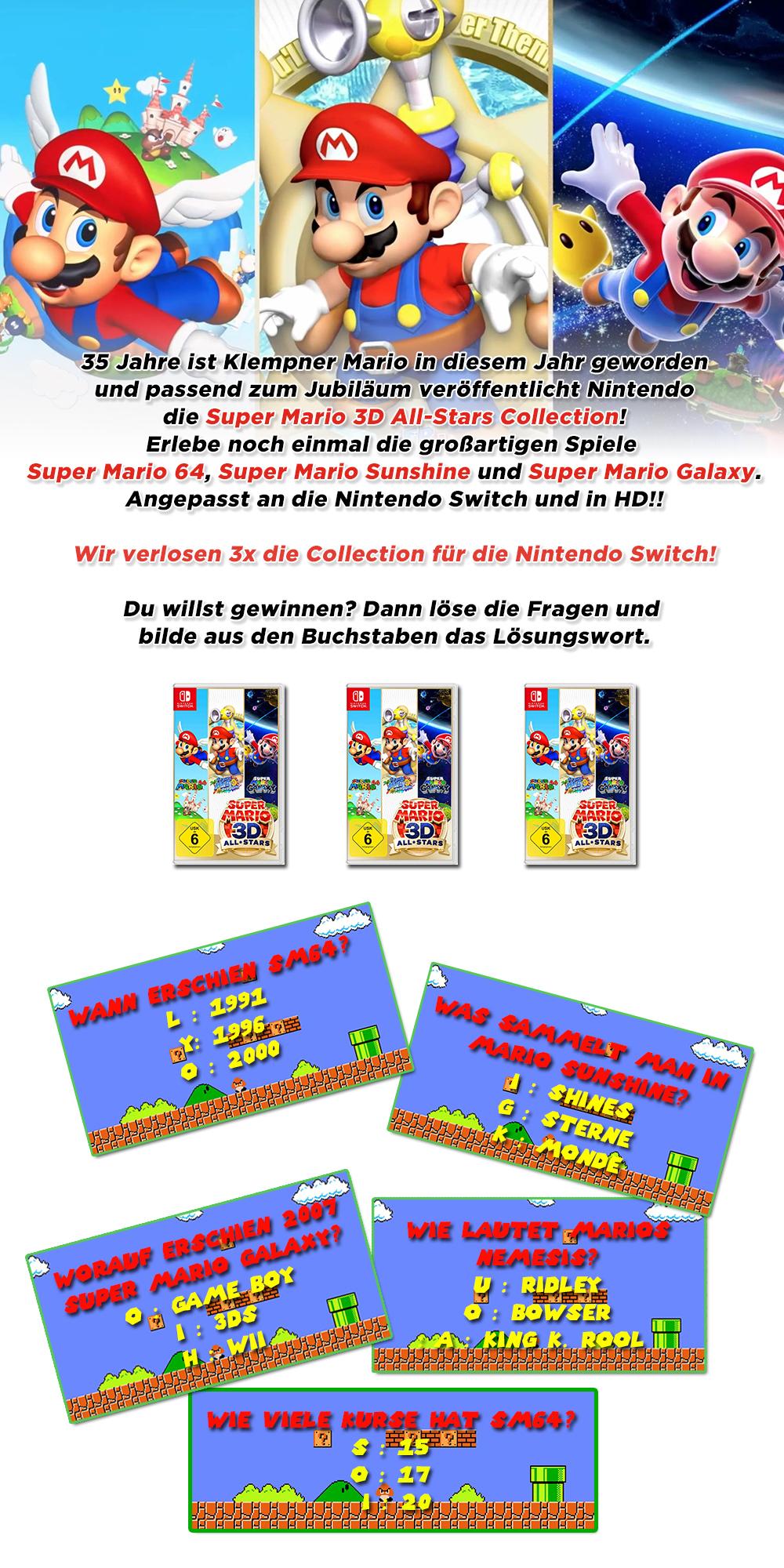 Bild 1:Gewinne 3x Super Mario 3D All-Stars für die Switch