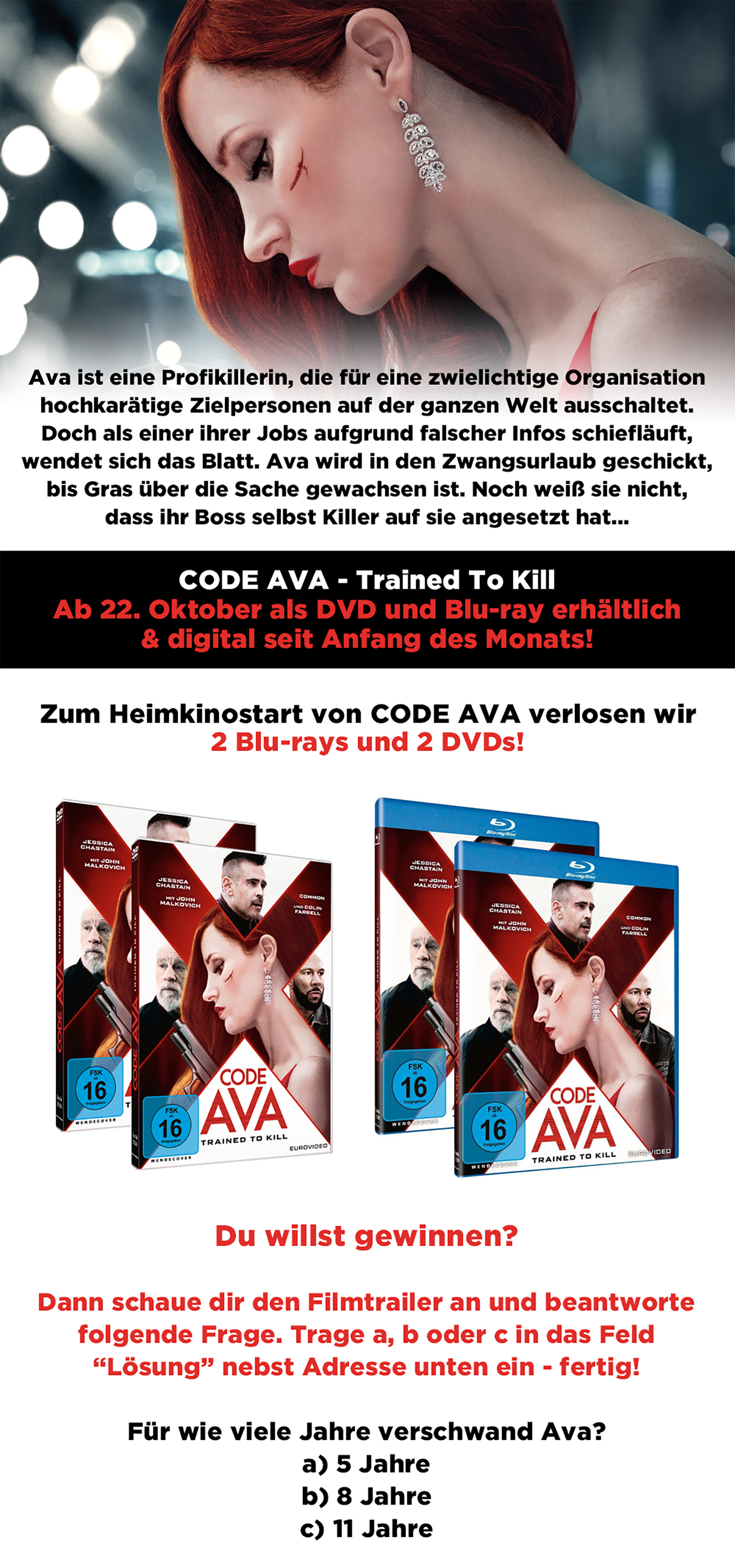 """Bild 1:Blu-rays und DVDs zu """"Code AVA"""" mit Chastain und Farrell zu gewinnen!"""