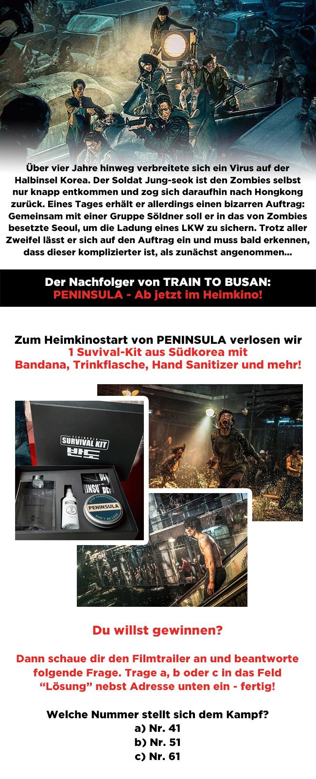 """Bild 1:Gewinne ein Survival-Kit aus Südkorea zum """"Peninsula""""-Heimkinostart!"""