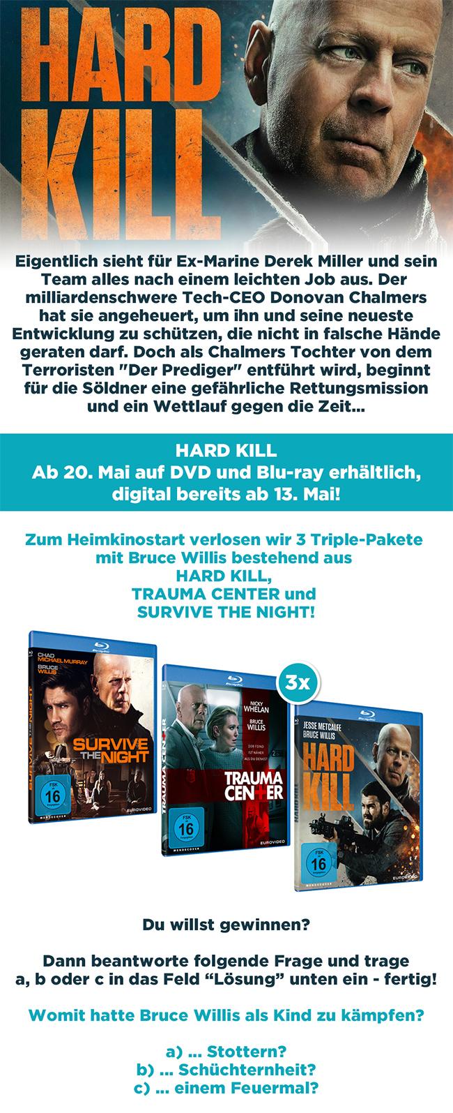 """Bild 1:Zum """"Hard Kill""""-Heimkinostart: Wir verlosen ein Bruce Willis-Triple-Paket!"""