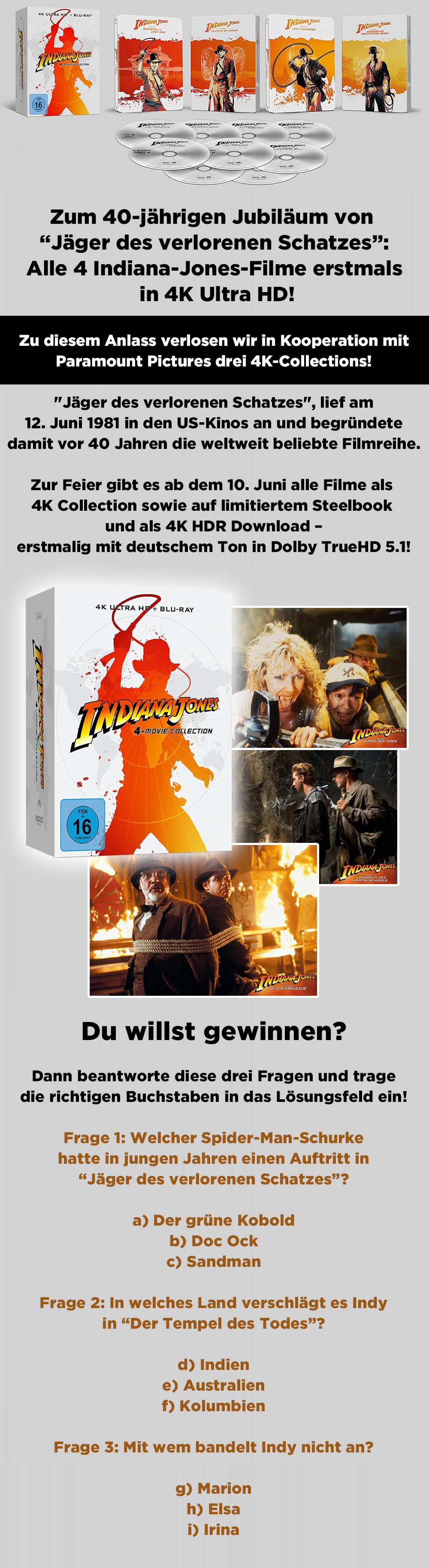 """Bild 1:Gewinne die neue 4K-Collection mit allen """"Indiana Jones""""-Filmen!"""