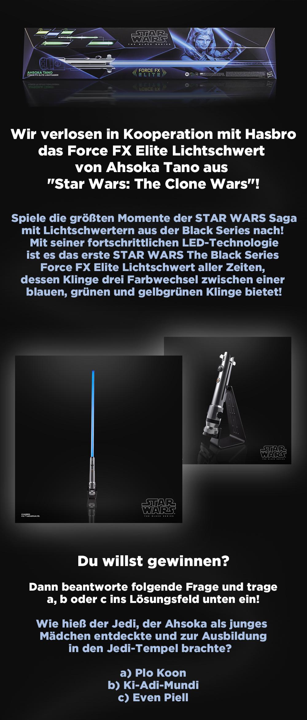 Bild 1:Star Wars-Fans aufgepasst: Gewinnt das geniale Force FX Elite Lichtschwert von Hasbro!