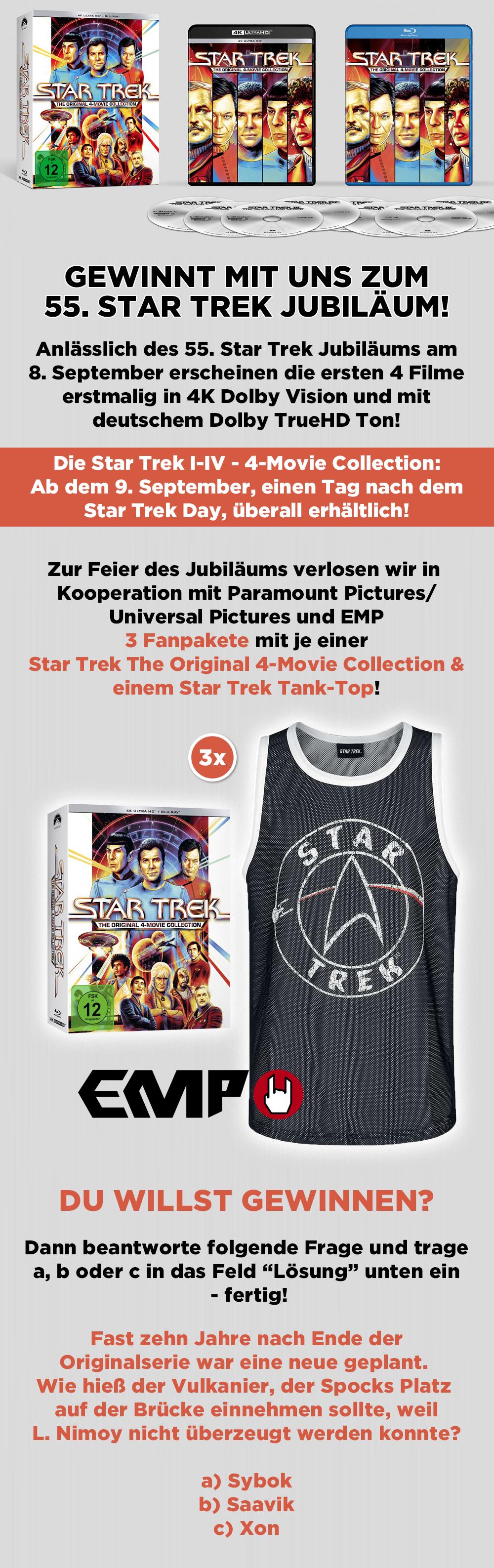 """Bild 1:Gewinnt mit uns die """"Star Trek I-IV - 4-Movie Collection"""" zum 55-jährigen Jubiläum!"""