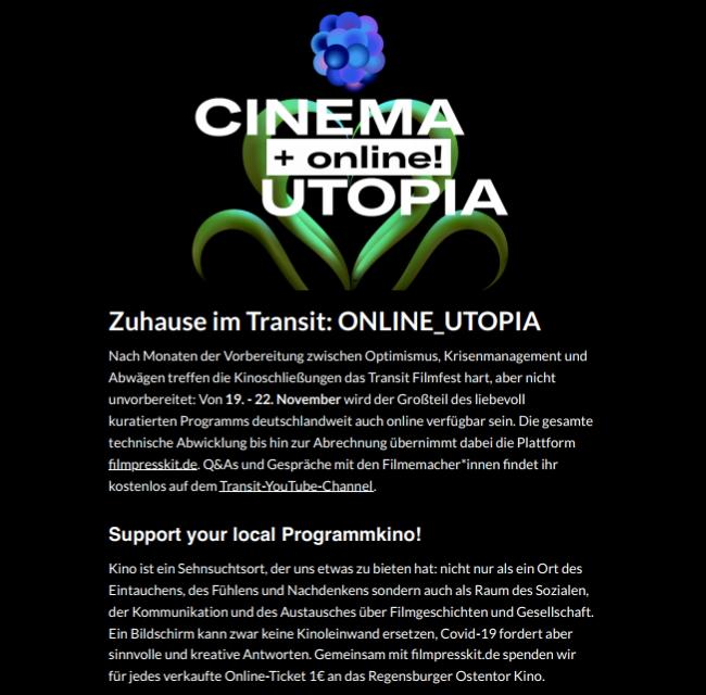 Bild 1:Kinoluft spüren: Auf dem Transit Filmfest 2020!